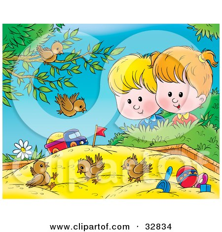 Clipart Illustration of a Group Of Birds Playing In A Sand Box, A Boy And Girl Watching by Alex Bannykh