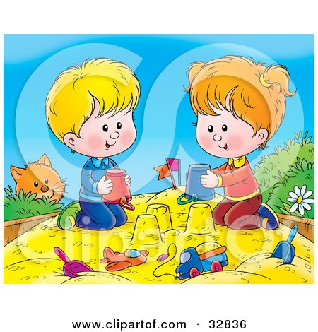 Clipart Illustration of a Curious Cat Watching A Boy And Girl Making Sand Castles With Buckets In A Sand Box by Alex Bannykh