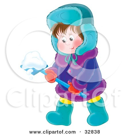 Clipart Illustration of a Little Boy In Winter Clothing, Shoveling Snow by Alex Bannykh