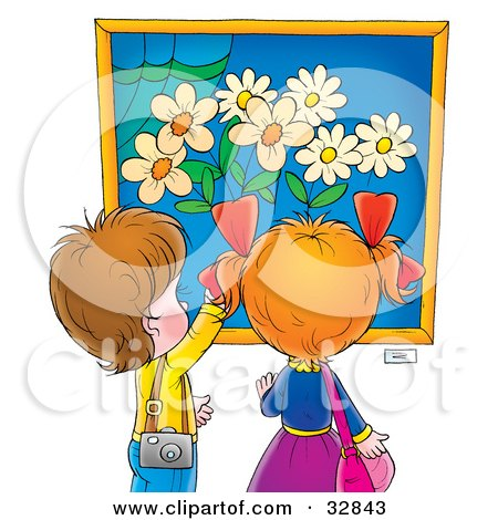 Clipart Illustration of a Little Boy And Girl Admiring A Painting Of Flowers In A Museum Or Art Gallery by Alex Bannykh