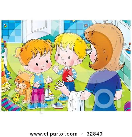 Clipart Illustration of a Mom Instructing Her Two Little Children To Clean Up The Messy Bathroom by Alex Bannykh