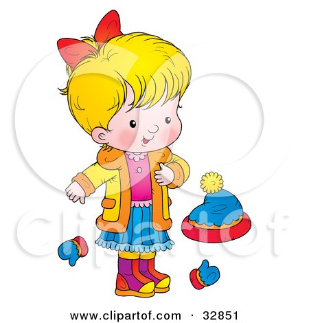 Clipart Illustration of a Blond Girl In A Coat, Standing By Mittens And A Hat by Alex Bannykh
