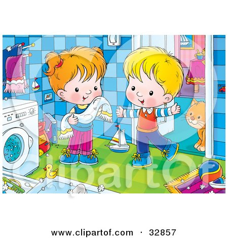 Clipart Illustration of a Boy And Girl Standing By A Washing Machine, A Cat Standing Behind A Doorway by Alex Bannykh