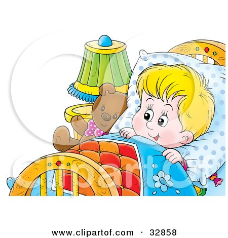 Clipart Illustration of a Happy Boy Tucked In Bed With His Teddy Bear by Alex Bannykh