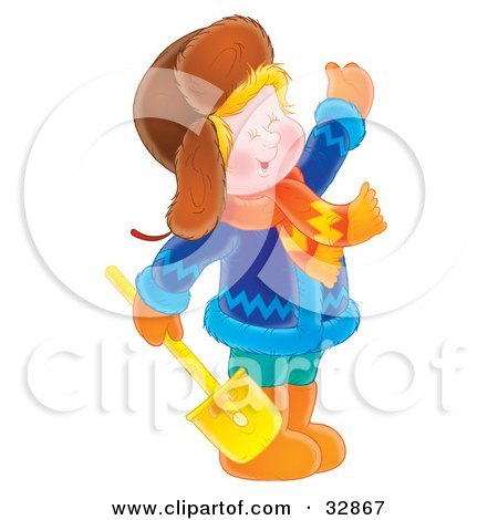 Clipart Illustration of a Happy Boy Dressed In Winter Clothing, Waving And Holding A Shovel by Alex Bannykh