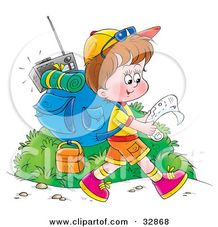 Clipart Illustration of a Boy Hiking With Gear On His Back, Reading A Map by Alex Bannykh