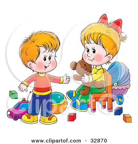Clipart Illustration of a Little Brother And Sister In A Toy Room, Playing With Blocks, Balls, Cars And A Teddy Bear by Alex Bannykh