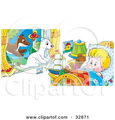 Clipart Illustration of White And Brown Ferrets Leaping Through A Window, Watching A Boy Wake Up In Bed by Alex Bannykh