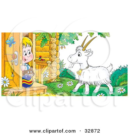 Clipart Illustration of a Boy And His Cat Peeking Out A Front Door, Looking At A Goat by Alex Bannykh