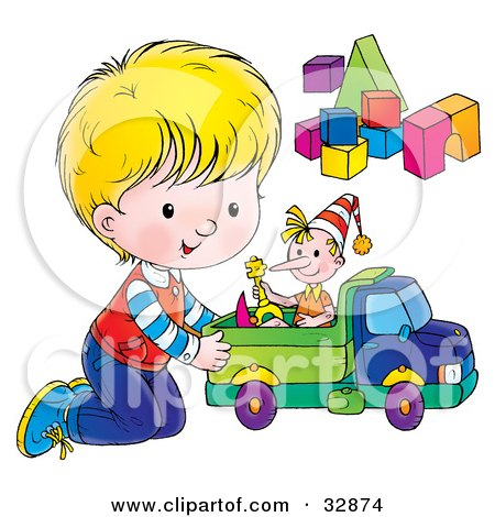Clipart Illustration of a Little Boy On His Knees, Playing With A Doll In A Toy Truck By Blocks by Alex Bannykh