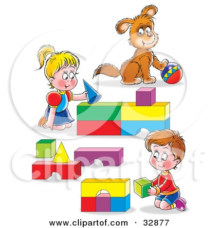 Clipart Illustration of a Boy And Girl, Brother And Sister, And Their Puppy, Playing With Blocks And A Ball by Alex Bannykh