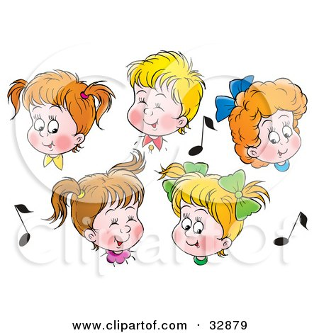 Clipart Illustration of a Group Of Boys And Girls In Choir, Singing, Surrounded By Music Notes by Alex Bannykh
