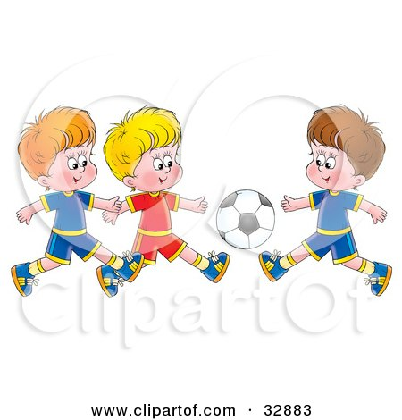 Clipart Illustration of Three Little Boys Running Towards A Soccer Ball During A Game by Alex Bannykh