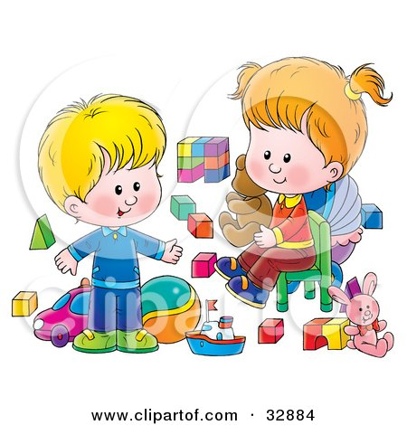 Clipart Illustration of a Little Boy And His Sister Playing With Toys In A Nursery Room by Alex Bannykh