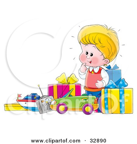 Clipart Illustration of a Little Blond Boy Excited Over His New Toys And Unwrapped Birthday Presents by Alex Bannykh