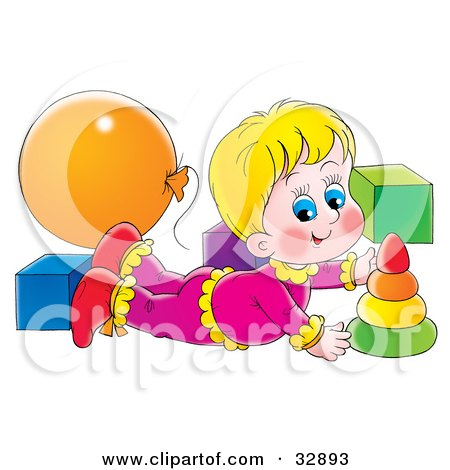 Clipart Illustration of a Blond Girl Laying On Her Belly And Playing With Toys In A Nursery by Alex Bannykh