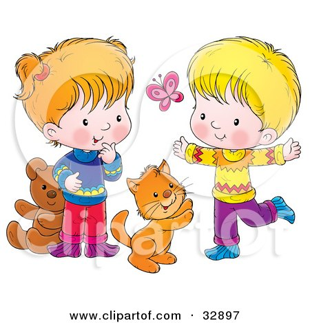 Clipart Illustration of a Cat, Boy And Girl Chasing A Butterfly And Playing by Alex Bannykh
