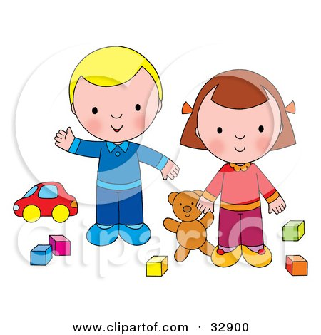 Clipart Illustration of a Boy And Girl Playing With A Teddy Bear, Blocks And A Car by Alex Bannykh