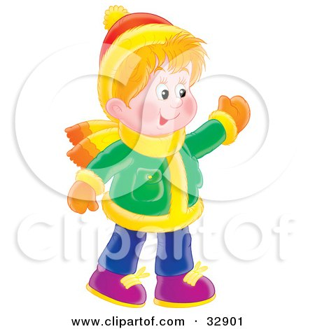 Clipart Illustration of a Friendly Boy In Winter Clothes, Waving At Friends by Alex Bannykh