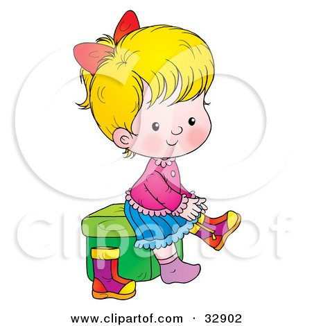 Blond Girl Sitting On A Stool And Putting Her Boots On Posters, Art Prints