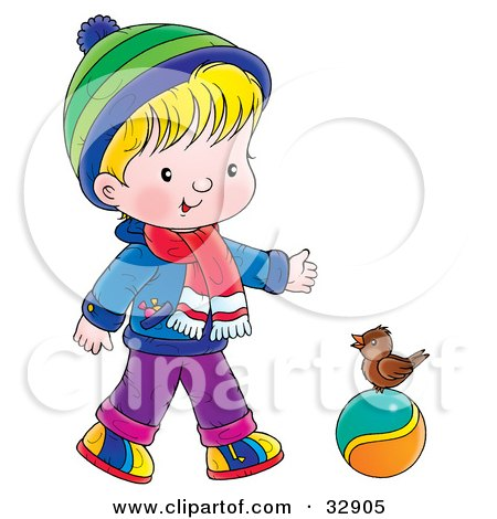 Clipart Illustration of a Boy In Winter Clothes, Talking To A Bird On A Ball by Alex Bannykh