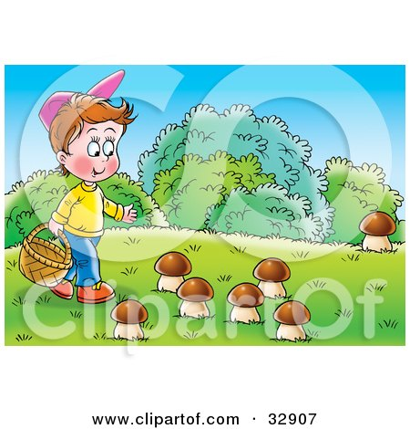 Clipart Illustration of a Little Boy Carrying A Basket And Picking Wild Mushrooms by Alex Bannykh