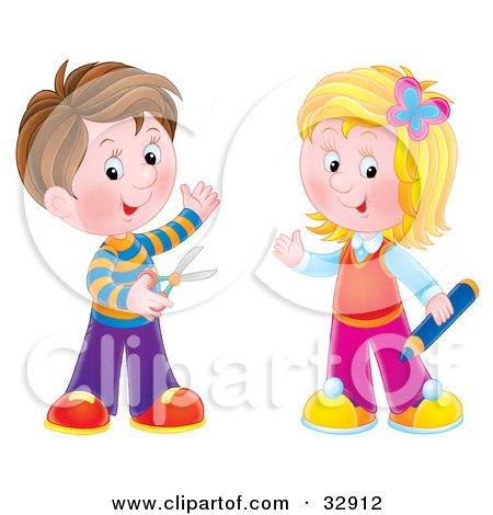 Clipart Illustration of a Brunette Boy Holding Scissors ...