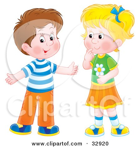Clipart Illustration of a Brunette Boy Holding His Arms Out While Talking To A Little Blond Girl by Alex Bannykh