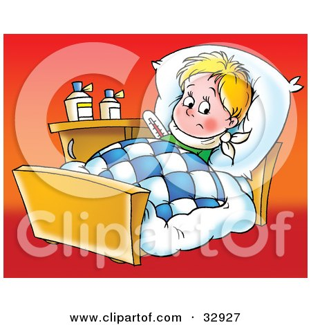 Clipart Illustration of a Sick Little Boy Resting In Bed, On A Red Background by Alex Bannykh