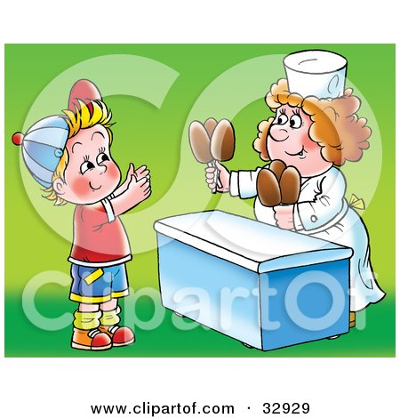 Clipart Illustration of a Woman Handing Fudge Pop Sickles To A Little Boy by Alex Bannykh