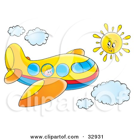 Clipart Illustration of a Little Boy Looking Out Of A Window On A Yellow Airplane Flying Through A Sunny Sky by Alex Bannykh