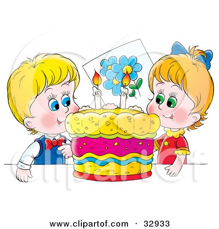 Clipart Illustration of a Happy Boy And Girl, Twins, Smiling While Preparing To Blow Out Candles On Their Birthday Cake by Alex Bannykh