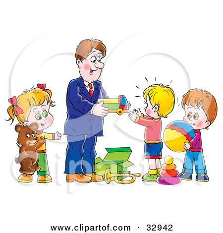 Clipart Illustration of a Father Giving Toys And Gifts To His Children by Alex Bannykh