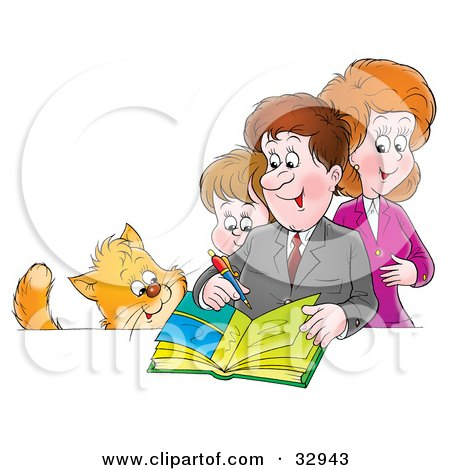 Clipart Illustration of a Cat Watching A Mother, Father And Son Writing In A Family Photo Album by Alex Bannykh