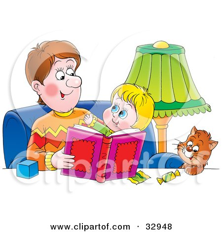Clipart Illustration of a Father Sitting With A Cat And His Son, Reading A Book by Alex Bannykh