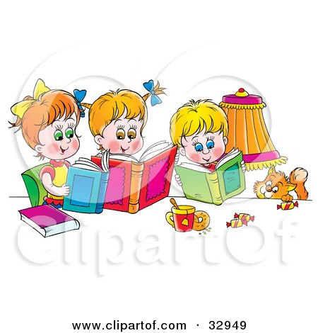 Clipart Illustration of a Cat Watching A Boy And His Two Sisters Read Books by Alex Bannykh