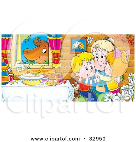 Clipart Illustration of Happy Grandchildren Hugging Grandma At A Table While A Cow Chews On Grass In The Window by Alex Bannykh
