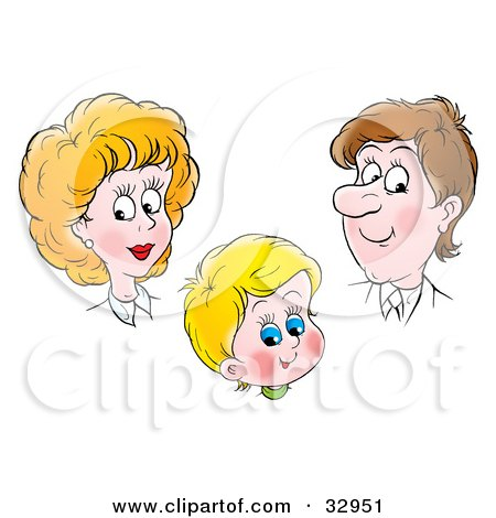 Clipart Illustration of a Proud Mother And Father Admiring Their Son by Alex Bannykh