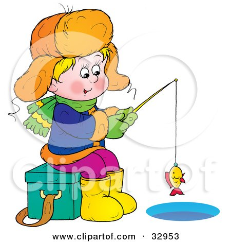Clipart Illustration of a Boy Sitting On An Ice Chest While Ice Fishing, Reeling In A Little Fish by Alex Bannykh