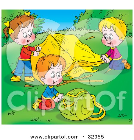 Clipart Illustration of Children Setting Up Their Tent At A Campground by Alex Bannykh