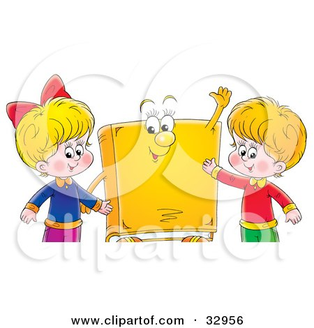 Clipart Illustration of a Happy  Boy And Girl Standing With A Yellow Book Character by Alex Bannykh