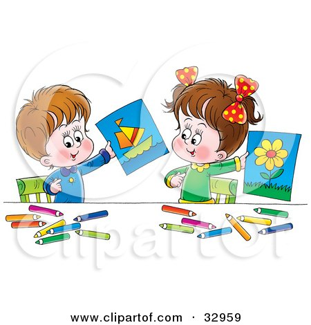 Clipart Illustration of a Little Boy And Girl Holding Up Their Drawings Of A Flower And Boat by Alex Bannykh