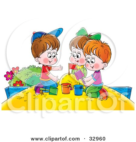 Clipart Illustration of a Girl And Two Boys Playing In A Sand Box by Alex Bannykh