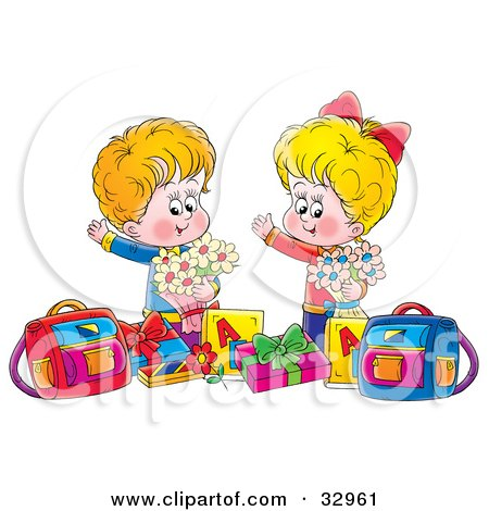 Clipart Illustration of a Happy Boy And Girl Holding Flowers, Standing With Presents And Bags by Alex Bannykh