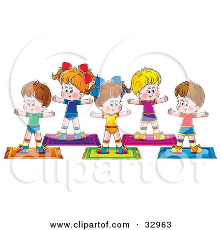 Clipart Illustration of a Group Of Healthy Children Exercising In A Fitness Class by Alex Bannykh