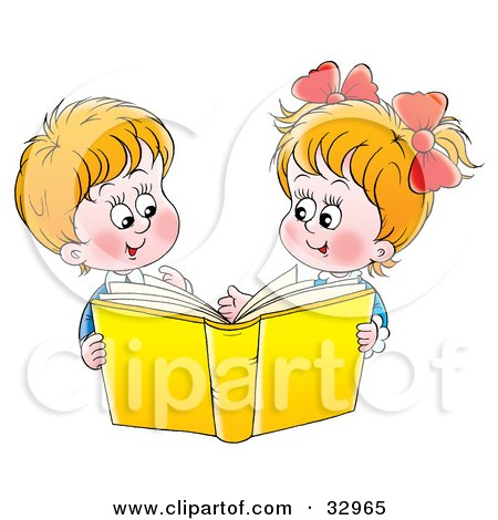 Clipart Illustration of a Happy Brother And Sister Reading A Yellow Book Together by Alex Bannykh