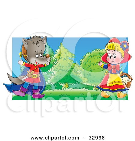 Clipart Illustration of a Girl Playing The Part Of Little Red Riding Hood And A Boy In A Wolf Costume, Entertaining People During A Drama Play by Alex Bannykh
