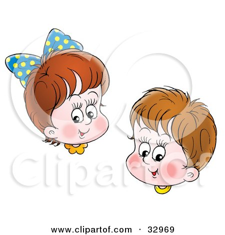Clipart Illustration of a Happy Brunette Brother And Sister Smiling by Alex Bannykh