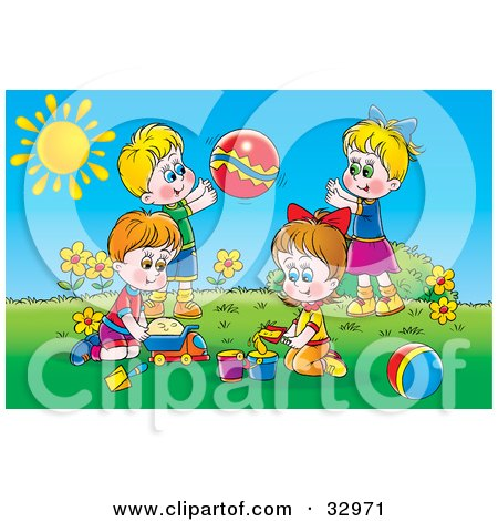 Clipart Illustration of Two Boys And Two Girls Playing With Sand, Toy Cars And A Ball Outside On A Sunny Day  by Alex Bannykh