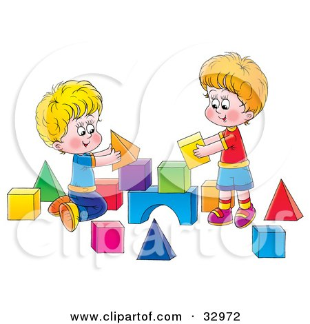 Clipart Illustration of Two Brothers Playing With Toy Blocks by Alex Bannykh
